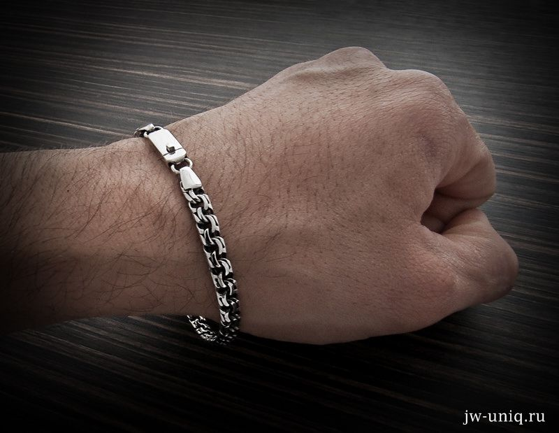 купить браслет из серебра плетения бисмарк ширина 65мм